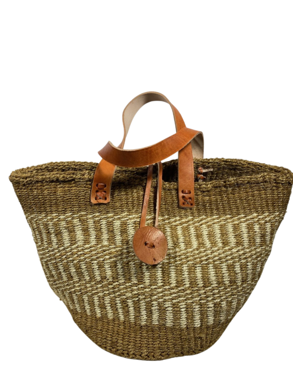 Beige and White Tote  Basket