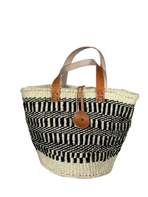 White With Black Stripe Tote  Basket