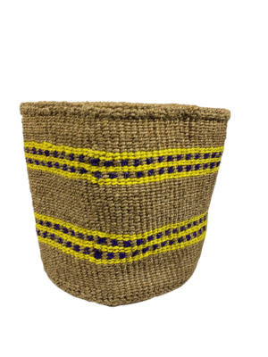 Gold Planter With Yellow And Blue Detail Basket