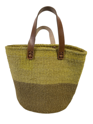 Two Tone Beige And Yellow Tote  Basket