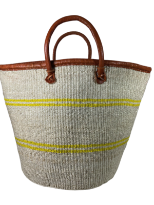 White with Yellow Strips Basket