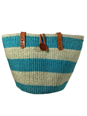 Teal And White Tote  Bag