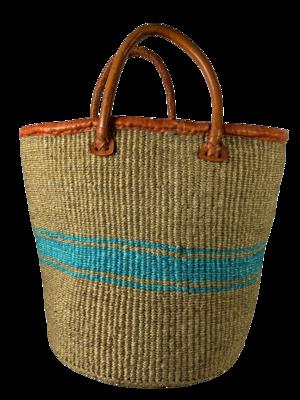 Beige And Teal Strip Basket