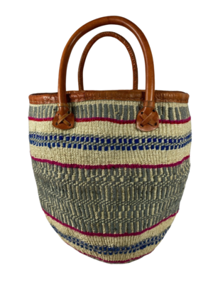 Grey With Blue And Pink Stripes Basket Bag