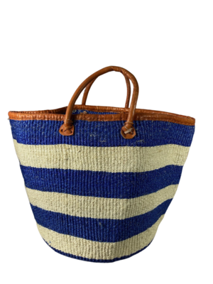 Blue And White Strip Basket