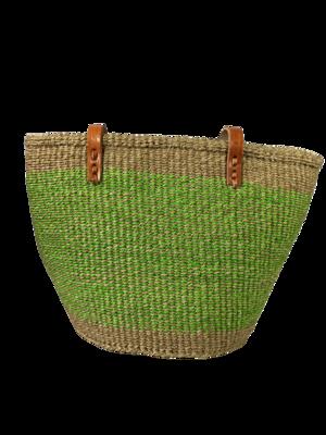 Green on Beige Tote  Basket