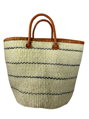 White with Brown Strips Basket