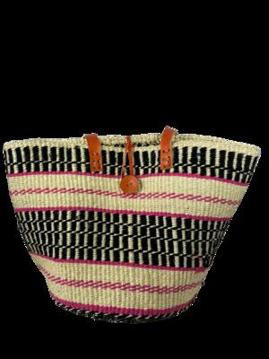 Black With Pink Stripes Basket Bag