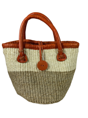 Beige And White Tote  Bag