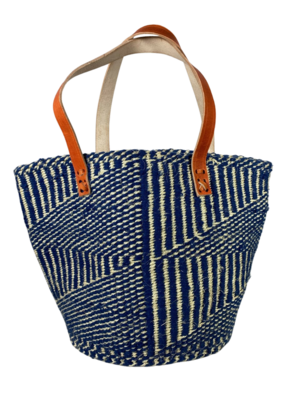 Blue With White Stripe Tote  Basket