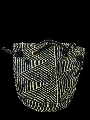 Black With White Stripe Tote  Basket