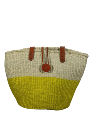 Two Tone White And Yellow Tote  Basket