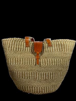 Vertical Striped Beige Basket