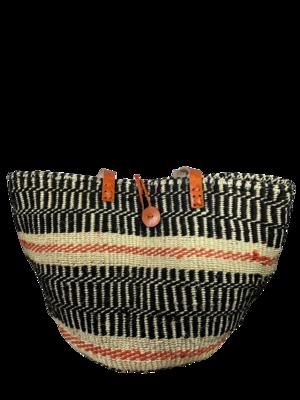 Black With Orange Stripes Basket Bag