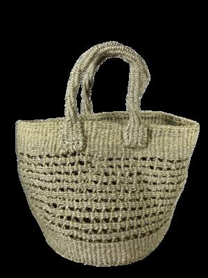 Open Weave Grey Tote  Basket