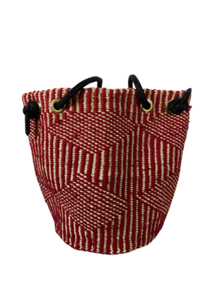 Red With White Diamond Tote  Basket