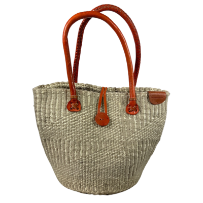 Beige With White Stripe Tote  Basket