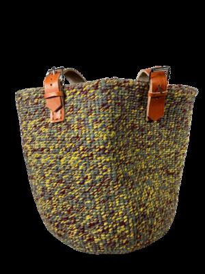 Yellow and Grey   Bag - Upcycled Yarn