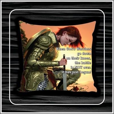 Kneeling warrior pillow