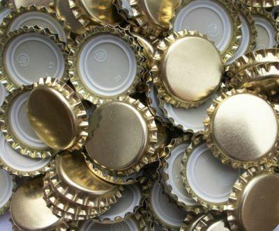Gold Crown Caps for Amber Beer Bottles