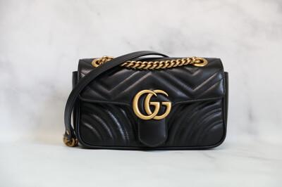 Gucci Marmont Flap Bag Mini Black New in Dustbag WA001