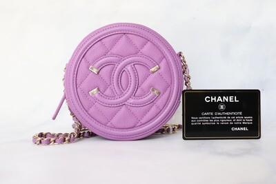Chanel Round Purple Caviar Leather, Gold Hardware, New in Box WA001