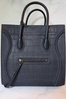 Celine Luggage Phantom, Navy Croc Leather, New in Dustbag WA001