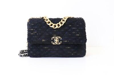 Chanel 19 Large (Jumbo), Black and Navy Tweed, New in Box WA001