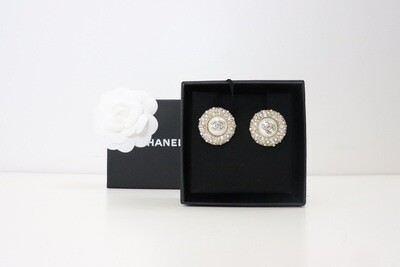 Chanel Earrings Statement Circle Round Crystal with Pearl (Gold), New in Box WA001