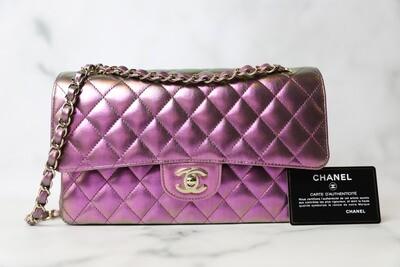 Chanel Classic Medium, Purple Iridescent Lambskin, New in Box WA001