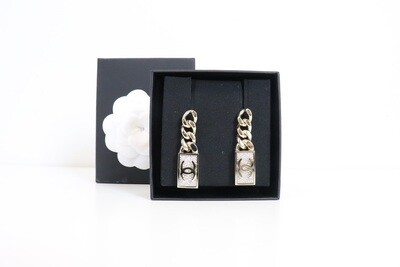 Chanel Earrings Gold Chain with Crystal Bar, Clip, New in Box