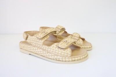 Chanel Shoes Sandals Raffia Gate 5 Dad, Size 36 New in Box WA001