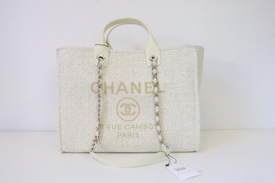 Chanel Deauville Large Ivory Tweed, Gold Hardware, New in Dustbag WA001