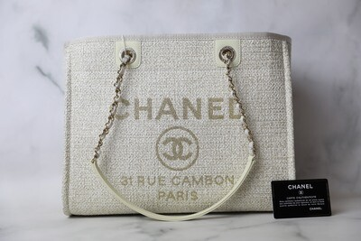 Chanel Deauville Medium, Ivory and Gold with Gold Hardware, New in Dustbag