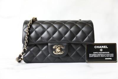 Chanel Classic Rectangular Mini, Black Lambskin with Light Gold Hardware, New in Box