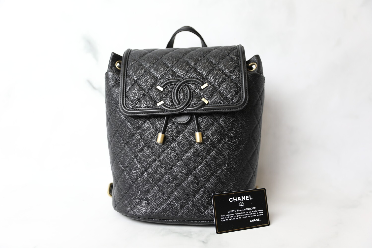 Chanel Filigree Backpack Small, Black Caviar with Gold Hardware, New in Dustbag WA001