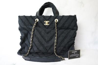 Chanel Fringe Tote, Black Denim with Gold Hardware, Preowned no Dustbag WA001