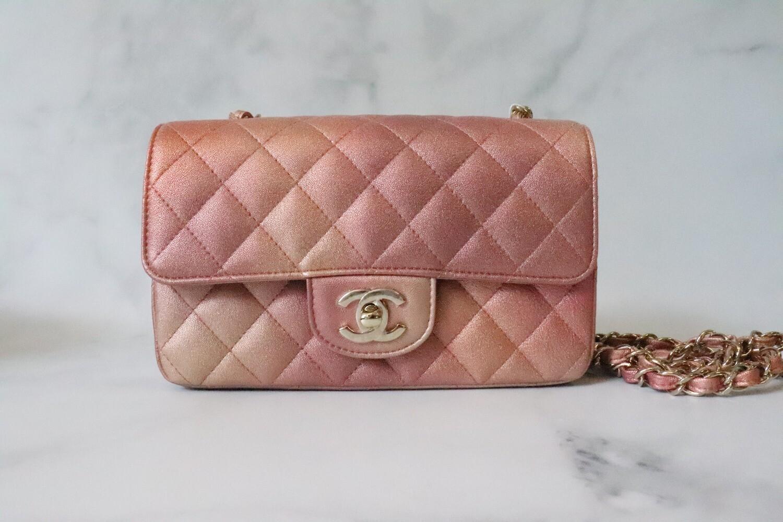 Chanel Mini, 21S Rose Gold Lambskin Leather, Gold Hardware, New in Box WA001