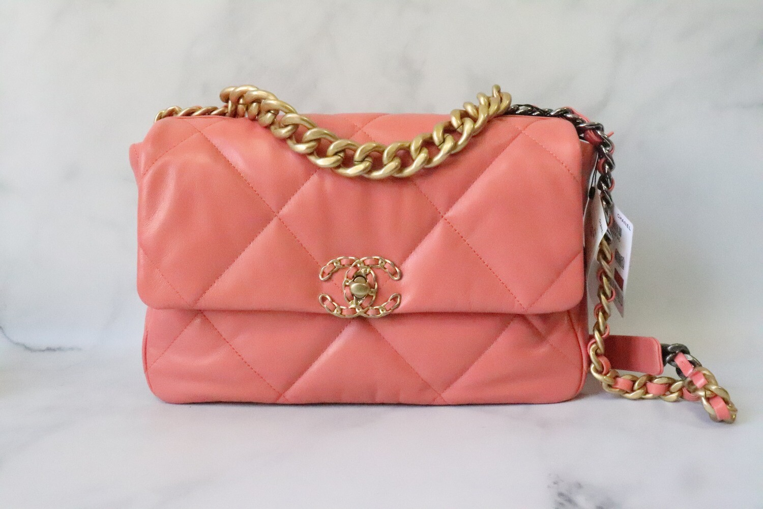 Chanel 19 Large Coral Goatskin Coral, New in Box