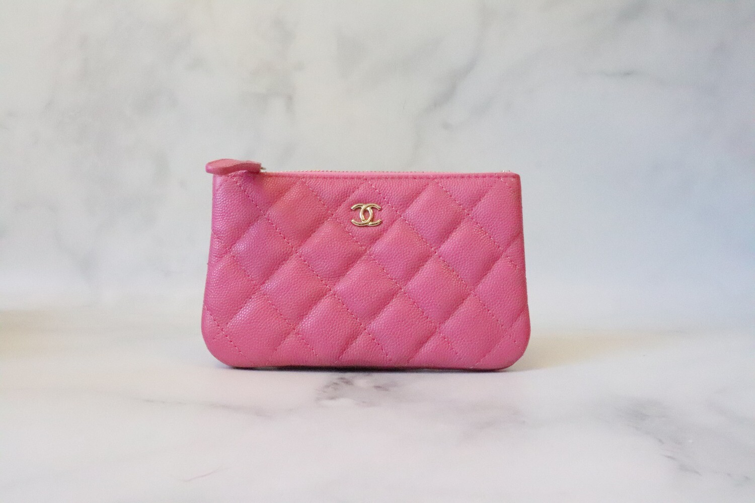 Chanel SLG Mini O Case 20S Pink Caviar Leather, Light Gold Hardware, New in Box