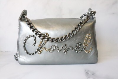 Chanel Silver Scripted Hobo Bag, New in Dustbag