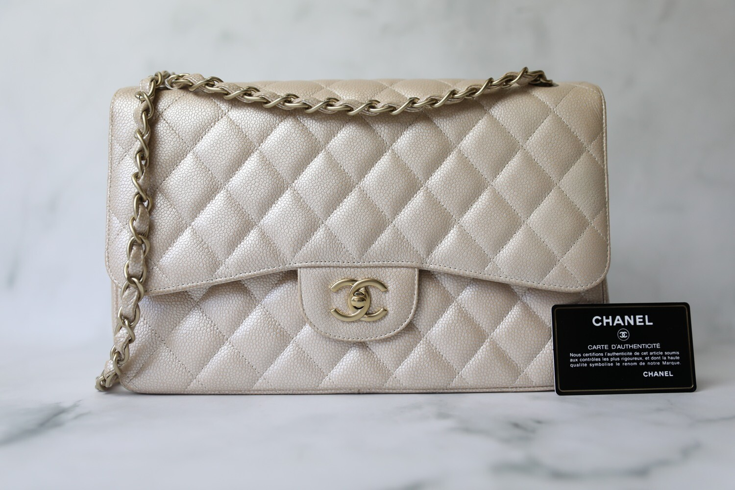 Chanel Classic Jumbo, Pearly Beige Caviar with Gold Hardware, Preowned in Box WA001