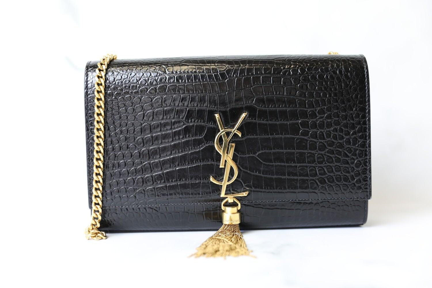 Saint Laurent Kate with Tassel, Black Mock Croc with Gold Hardware, Preowned in Dustbag WA001