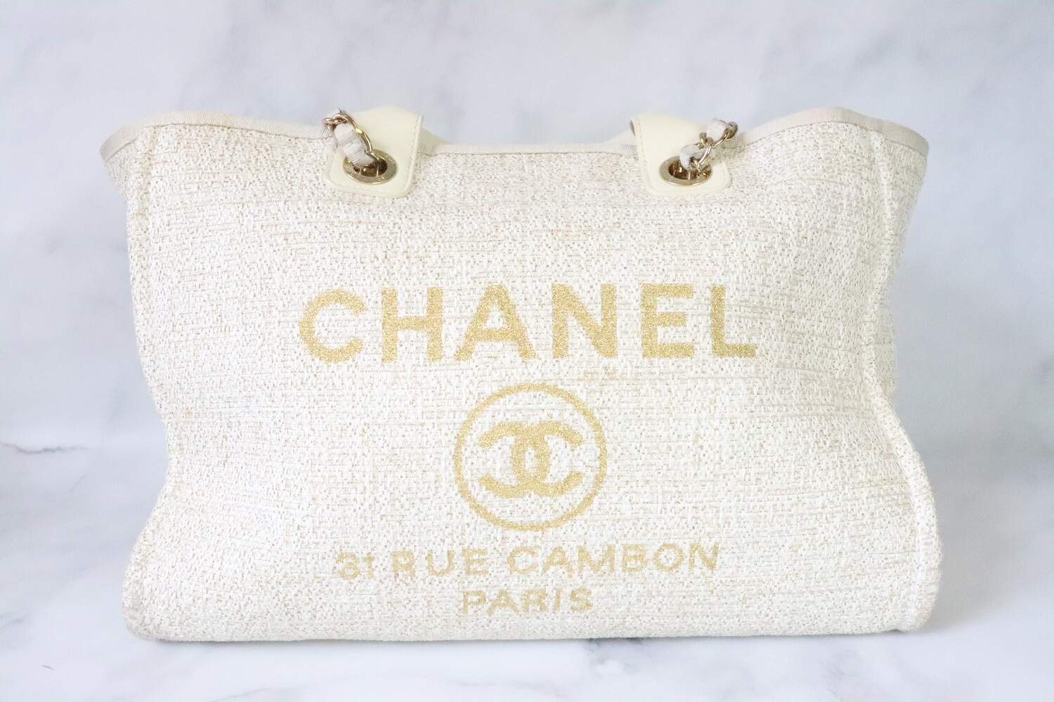 Chanel Deauville Large Ivory Tweed, Gold Hardware, Preowned - No Dustbag