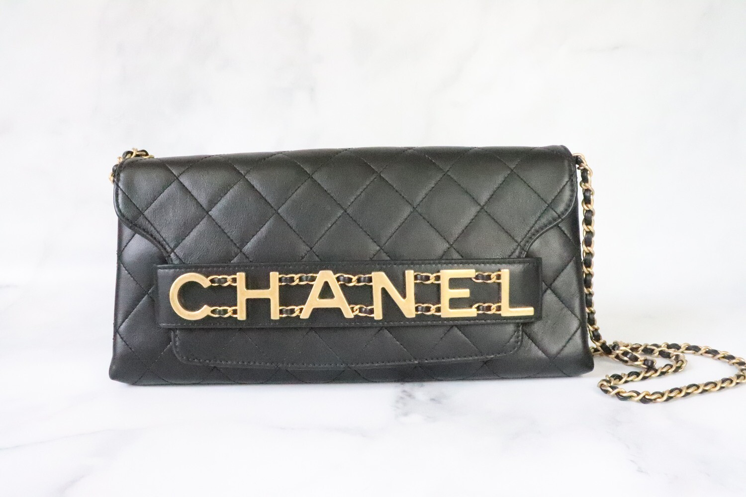 Chanel Black Enchained Clutch Bag, Brushed Gold Hardware, Preowned in Dustbag