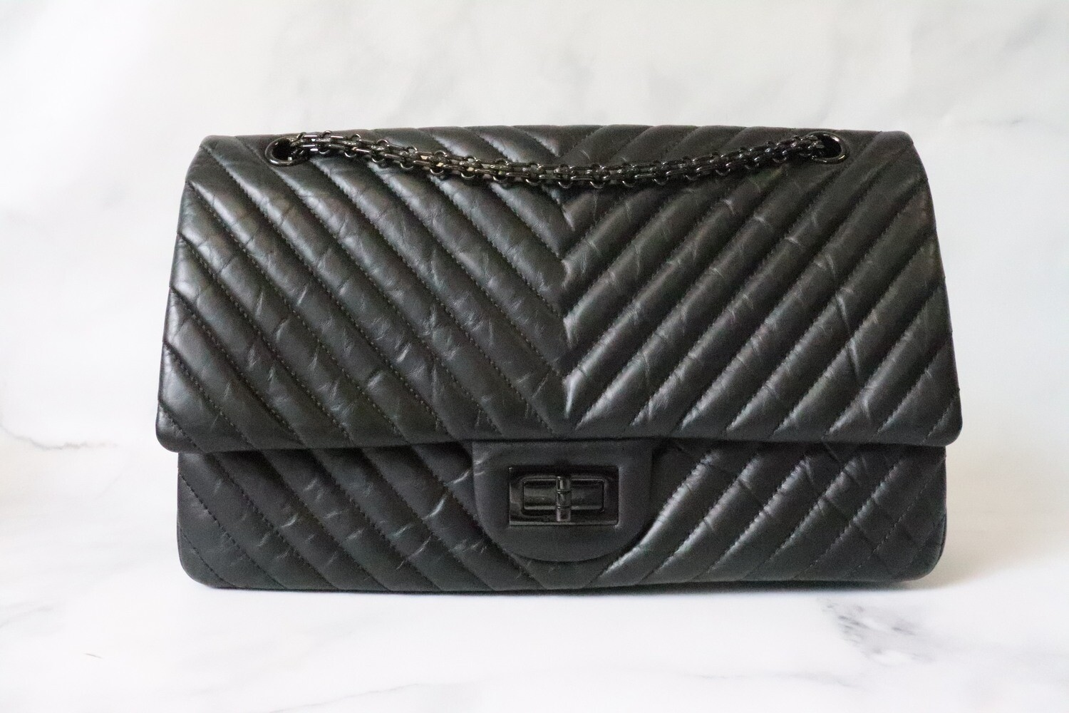 Chanel Reissue 227 So Black Crumpled Caflskin Leather, So Black Hardware, Preowned in Dustbag
