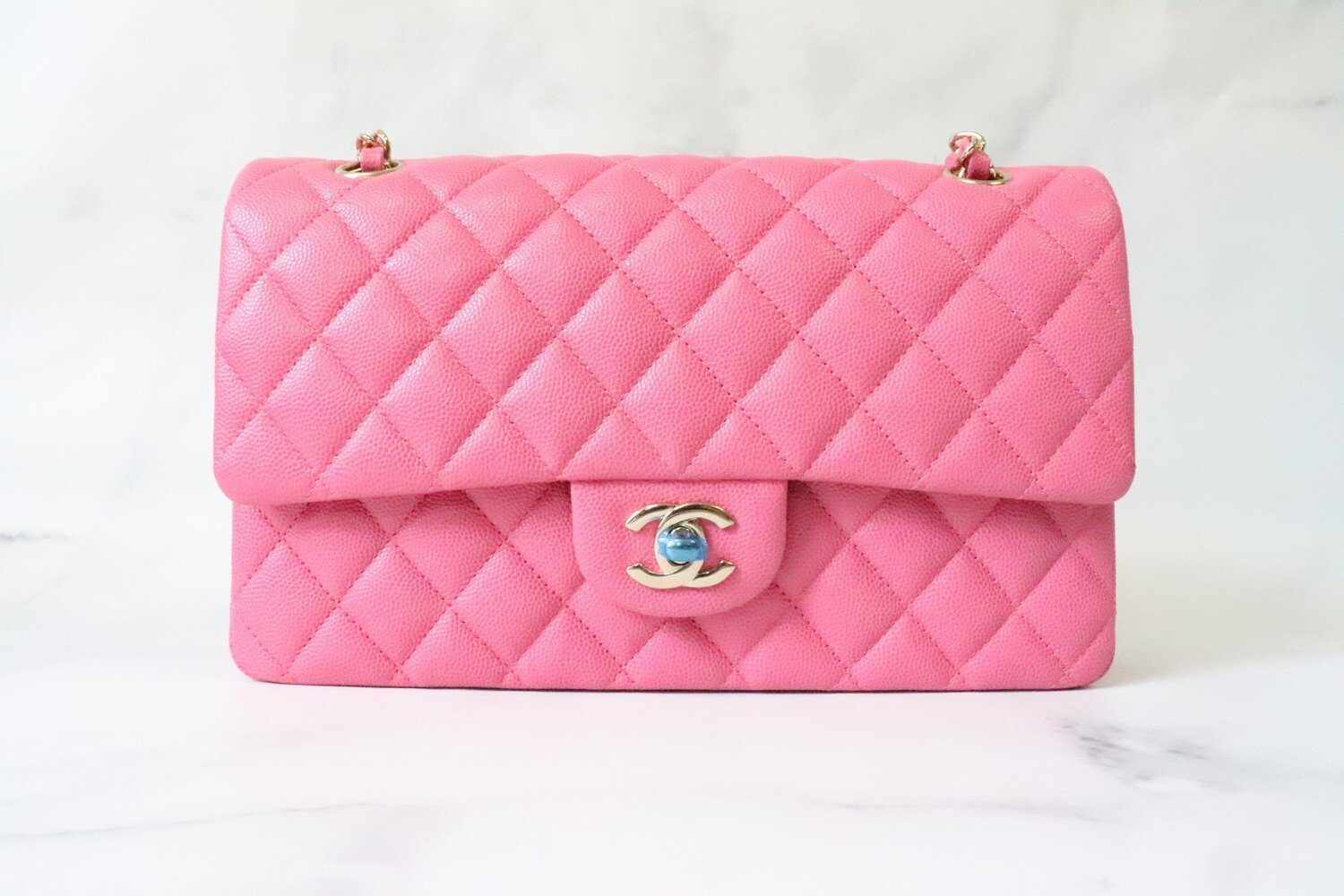 Chanel Classic Medium Double Flap Pink Caviar Leather, Gold Hardware, As New in Box