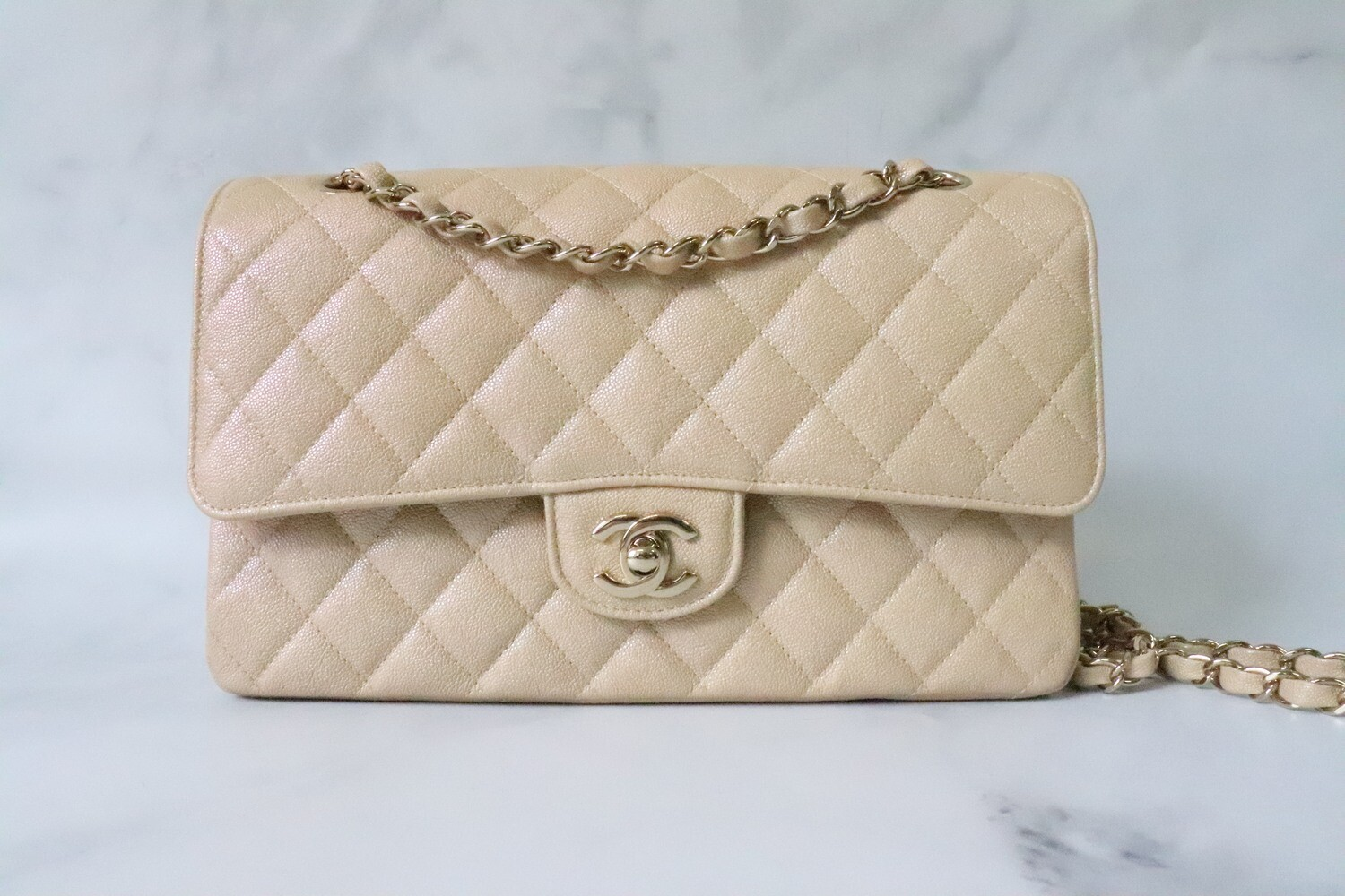 Chanel Classic Medium Double Flap, 19S Beige Claire Caviar Leather, Gold Hardware, Preowned in Box