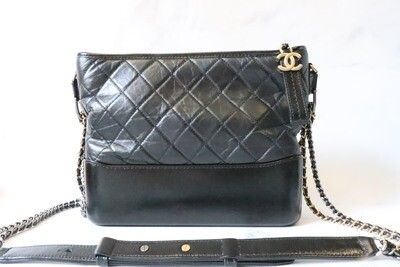 Chanel Gabrielle Large Black, Glazed Calfskin Leather, Preowned in Dustbag