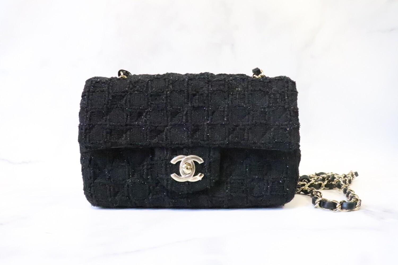 Chanel Mini Rectangel 21S Black Tweed, Light Gold Hardware, New in Dustbag